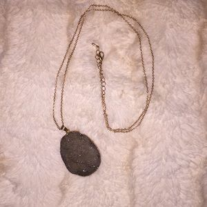Druzy Crystal Pendant Necklace in Taupe